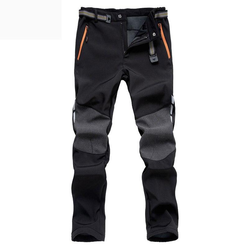 Plus Size Winter Warm Fleece Heated Trousers Outdoor Sport Waterproof Windproof Trekking Fishing Camping Hiking Pants