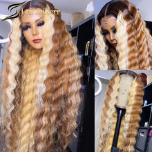 Blonde Highlight Hd Transparent Lace Frontal Wig Preplucked Brown Ombre Lace Front For Women Deep Curly 613 Colored Human Hair
