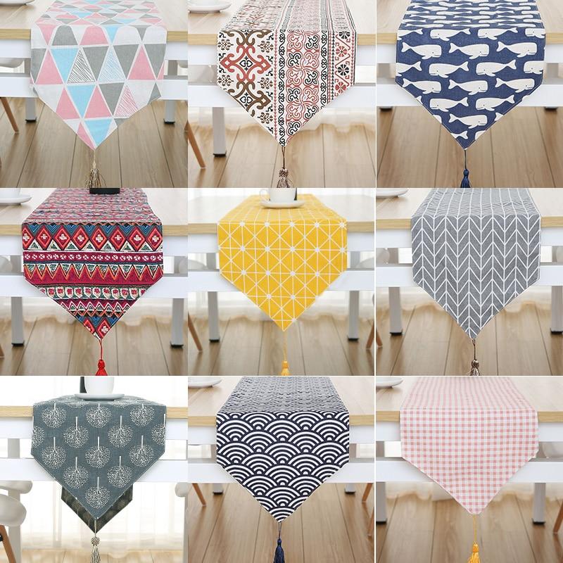 Modern Fashion Flower Table Cloth Party Wedding Decoration Cloth Bamboo Carvas Cloth Table Runner Cloth Cover