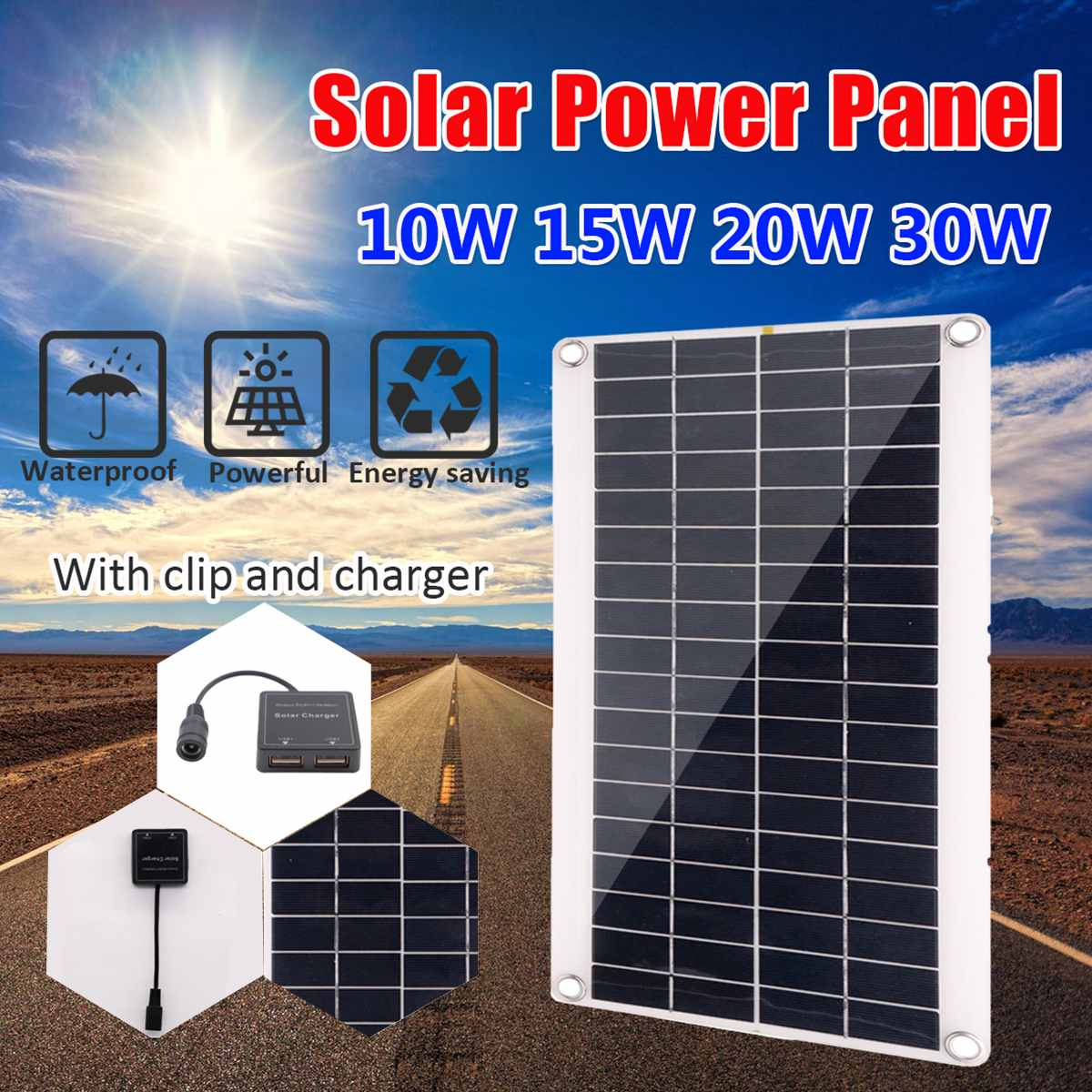 SODIAL 50W Solar Panel Solar Cells Poly Solar Panel USB Output 30A Controller for Car Yacht 12V Battery Boat Charger