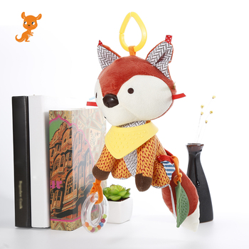 1PC Cute Fox Rattles Plush Stuffed Rattles baby toy Stroller Car Toys Clip Lathe Hanging Seat & Stroller Toys for children a generation of fat baby stroller toy car stroller walker walker toys for children