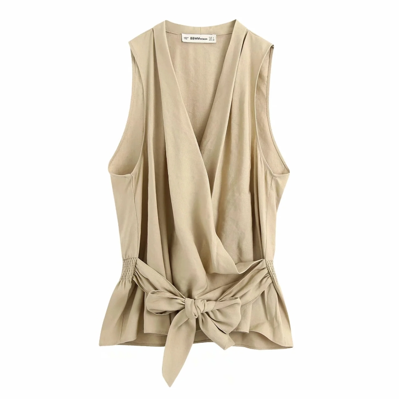 New 2020 Women Elegant Cross V Neck Solid Elastic Waist Bow Linen Blouse Ladies Sleeveless Kimono Shirts Chic Blusas Tops LS6673