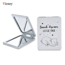 Vicney Fashion New Mini Pocket Makeup Mirror Cartoon Letter Design Make Up Portable Double-Sided Magnifier Cosmetic Tool