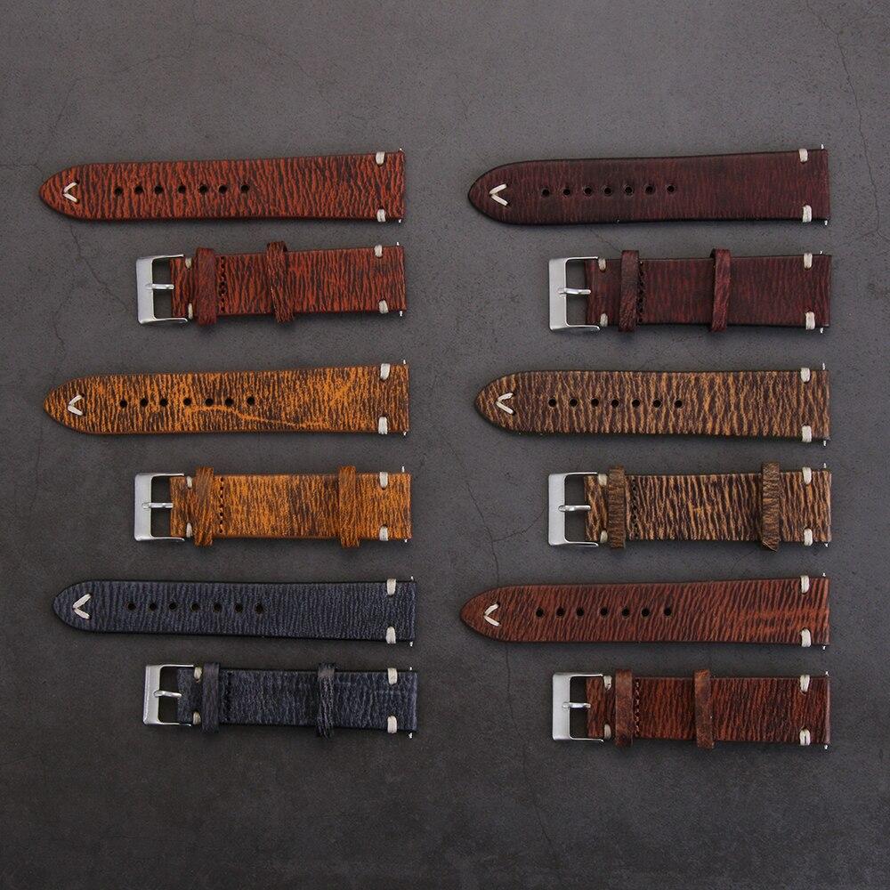 Универсальный сменный кожаный ремешок для часов, винтажный ремешок для часов, аксессуары для часов 18 мм 20 мм 22 мм 24 мм Ремешки для часов      АлиЭкспресс