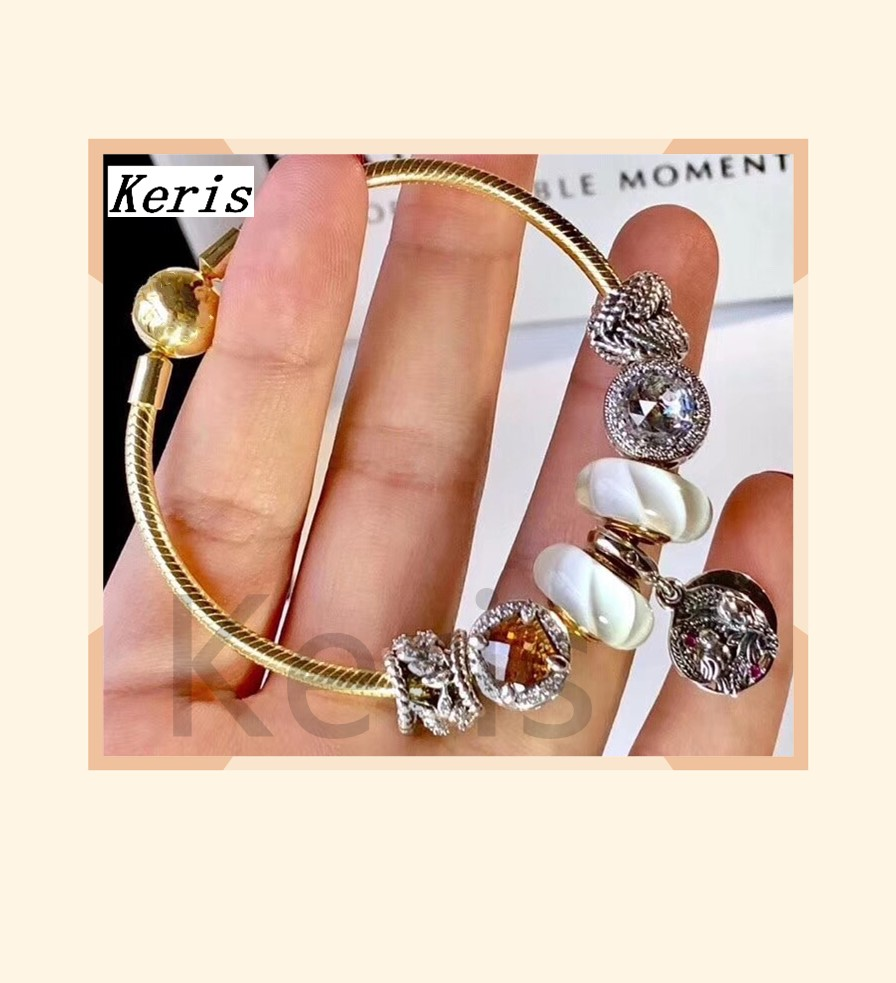 High Quality Copy 1:1 100%925 Pure Silver New 2019 Electroplated Gold And White Glazed Beads Hanging Tag Bracelet Free Of Charge
