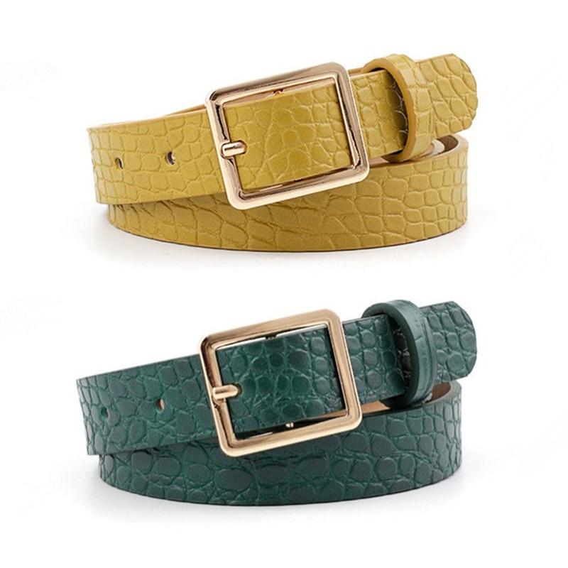 Fashion Ladies Belt Crocodile Print Belts For Women Fashion Pin Buckle Waist Belts Green Yellow Black Camel