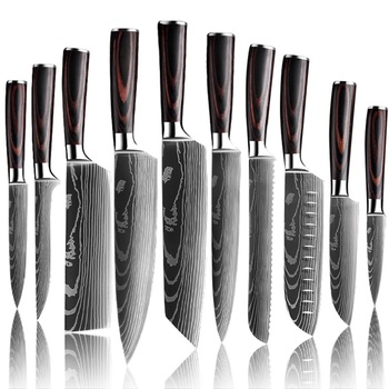 Upgraded Stainless Steel Chef Knife Set Laser Damascus Pattern Stainless Steel Sharp Cleaver Slicing Utility Knives Home & Garden Home Garden & Appliance Kitchen & Steak Knives Kitchen Knives & Accessories Kitchen, Dining & Bar Color: 10PCS