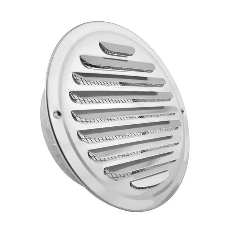Fashion-Stainless Steel Air Vents, Louvered Grille Cover Vent Hood Flat Ducting Ventilation Air Vent Wall Air Outlet With Fly Sc