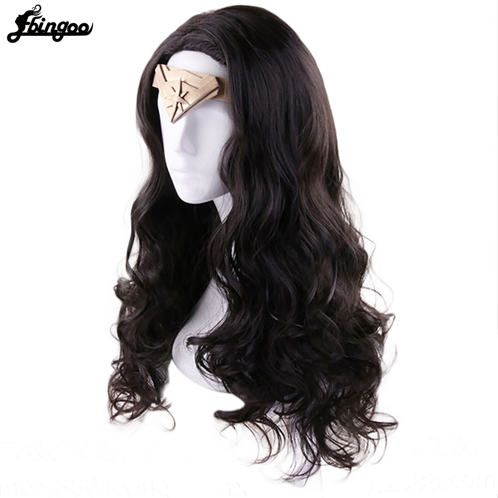 Image 3 - Ebingoo Hair Cap + Headwear + Wonder Woman Diana Prince Side Part Natural Long Body Wave Dark Brown Synthetic Cosplay WigSynthetic None-Lace  Wigs   -