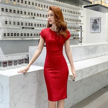 Spring Sexy Party Bodycon Office Sheath Dresses High-end Women O Neck Short Sleeve Elegant  brand 2020 Dress Vintage chic Dress 4