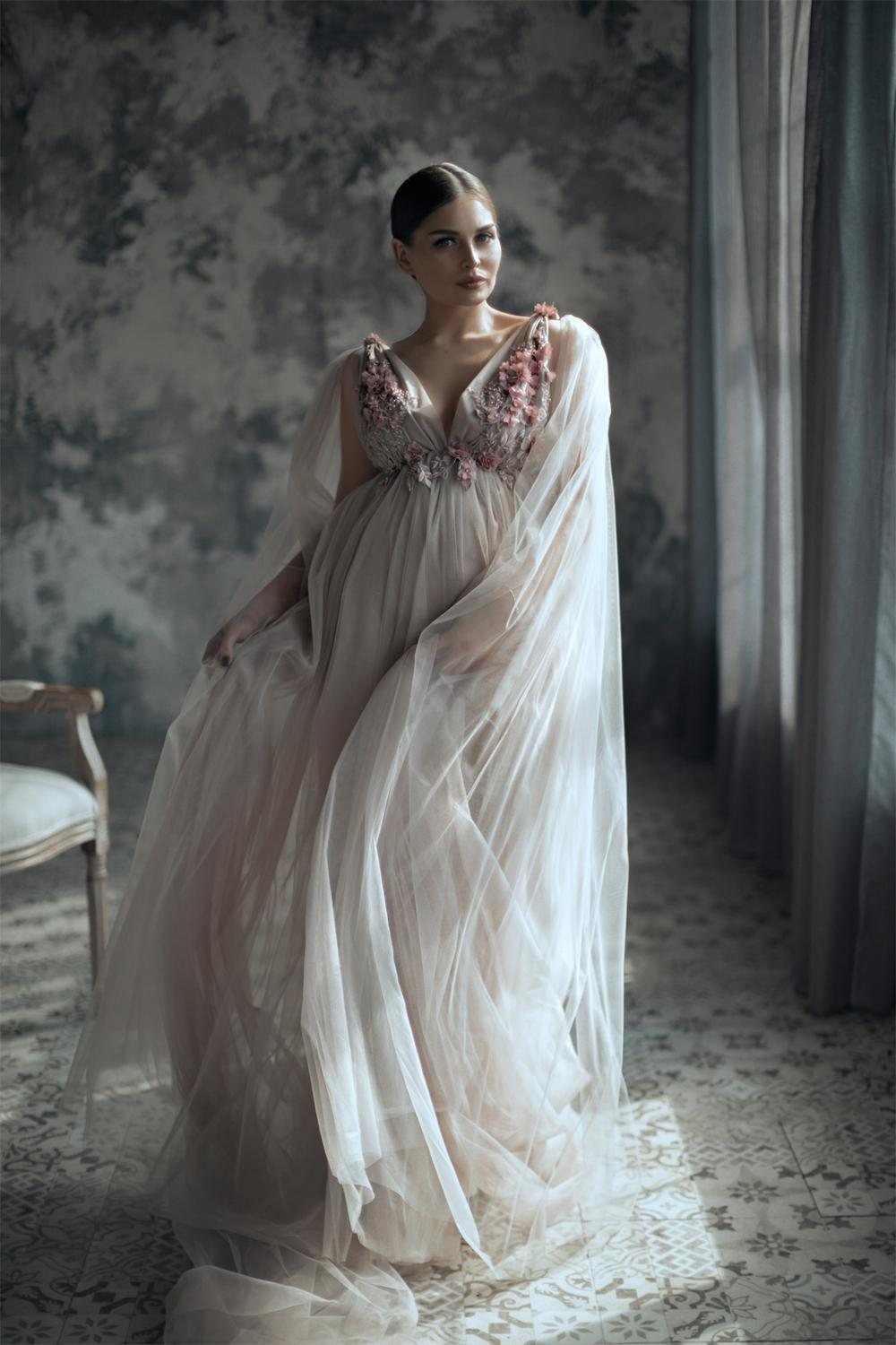 2021 Customised A Line Maternity Dresses Tulle Floral Appliqued Boudoir Dress Wedding Sleepwear Bathrobes Nightgowns Gown