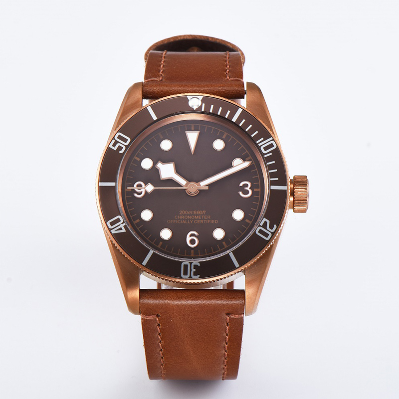 watch men automatic mechanical watch 316L Solid stainless steel pvd Luminous waterproof date Leather 41MM KGT1