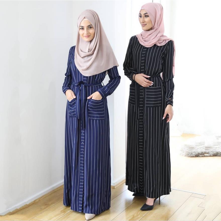 Ramadan Striped Shirt-style Kimono Muslim Abaya Hijab Muslim Dress Female Single Breasted Islamic Kaftan Robe Musulman Abayas