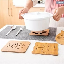 Kitchen creative bamboo table mat pot pad cute tea coaster anti-scalding anti-slip insulation