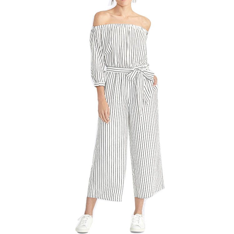 AliExpress Hot Selling WOMEN'S Overall Off-Shoulder Half-sleeve Shirt Stripes Bandage Cloth Casual One-piece Trousers
