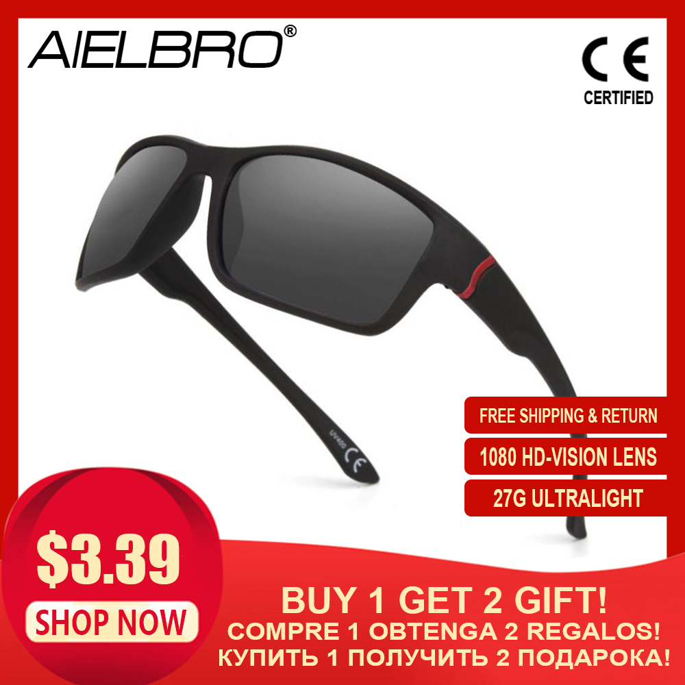 AIELBRO Cycling Glasses Sports Sunglasses Men MTB Bicycle Glasses UV400 Protection Bike Cycling Running Goggles Style Sunglasses