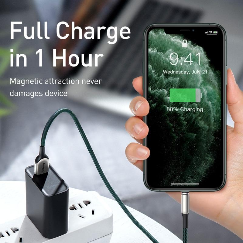 Магнитный usb-кабель Baseus на молнии для iPhone, кабель 2A Micro USB type C, магнитный кабель, провод для зарядки samsung huawei