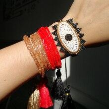 SHINUSBOHO Lucky Eye Jewelry pulseras Miyuki Bracelet for Women Fashion Crystal Beads with Tassel Bracelets Bileklik shinusboho lucky eye jewelry pulseras miyuki bracelet for women fashion crystal beads with tassel bracelets bileklik