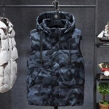 플러스 7xl 6xl 패션 민소매 자켓 남자 두꺼운 조끼 모자 후드 웜 조끼 겨울 조끼 남자 캐주얼 윈드 브레이커
