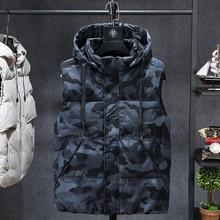 Plus 7XL 6XL Fashion Sleeveless Jacket  Men Thickening  Vest Hat Hooded Warm Vest Winter Waistcoat Men Casual Windbreaker