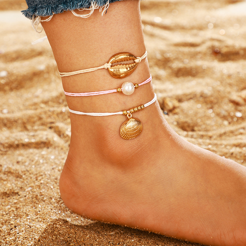New Arrivals Anklet Foot Jewelry Shell Beads Charming Fringe Beach Woven Simple Rope Draw Hand Made Pearl Beach Ankle Bracelets