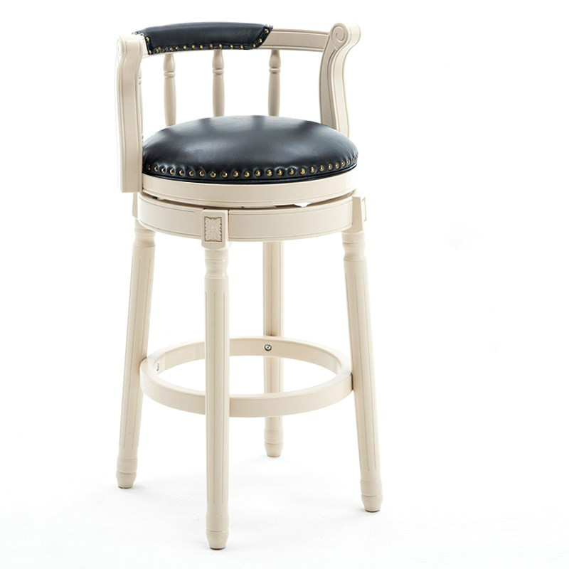 American Solid Wood Bar Chair European Back High Stool Light Luxury Vintage Leather Rotating Bar High Chair Household