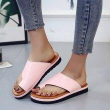 Fashion Slipper Womens Shoes Pu Leather Flat Sole Ladies Casual Soft Big Toe Foot Correction Sandal Orthopedic Bunion Corrector