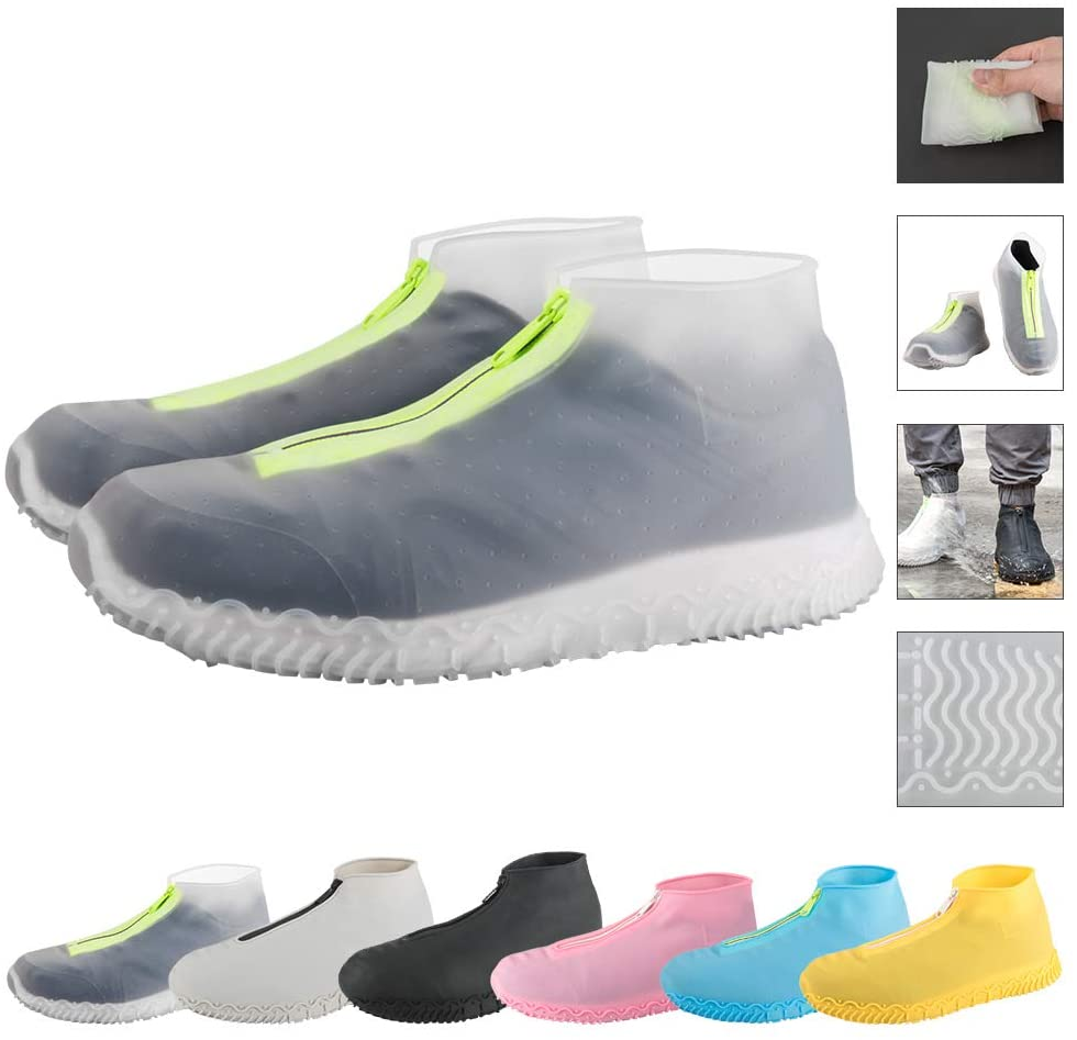 Reusable Silicone Waterproof Shoe Covers, Silicone Shoe Covers with Zipper No-Slip Rubber Shoe Protectors for Kids,Men and Women