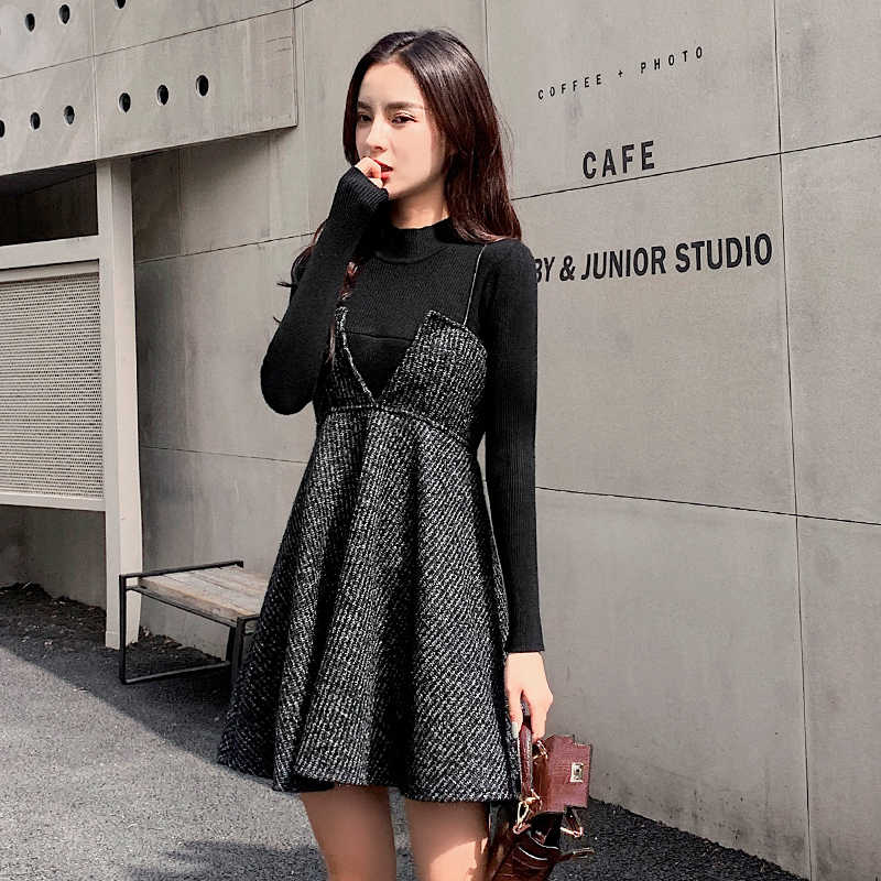 Autumn/Winter Maternity Nursing Dress Suits Long Sleeve Lactation Tops+Strap Dress Twinset Pregnancy Breastfeeding Clothes Set