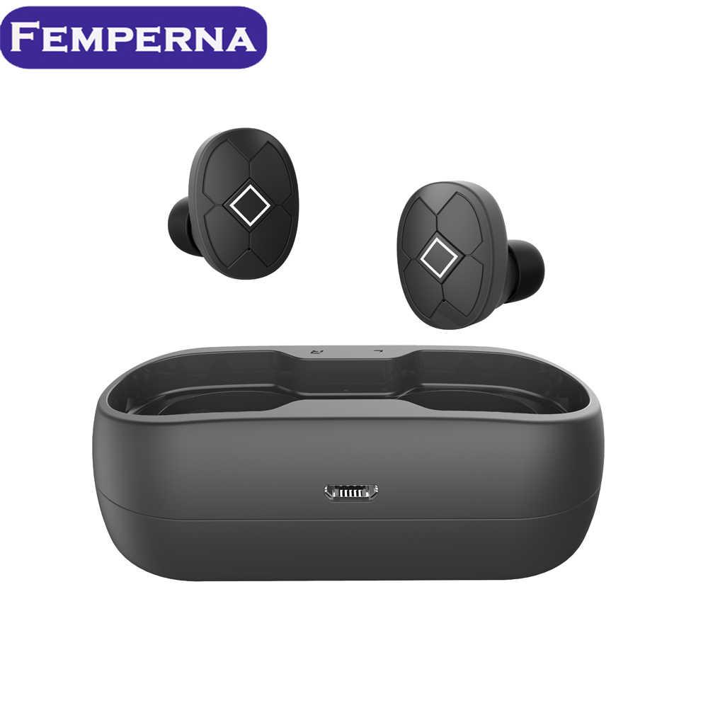 Femperna Bluetooth słuchawki Bluetooth 5.0 bezprzewodowe słuchawki z skrzynka do ładowania zestaw słuchawkowy dla aktywnych 3D stereo z podwójny mikrofon