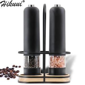 Automatic Salt Pepper Grinder Set Electric Plastic Ceramic Burr Mill For Herb Pepper Spice Adjustable Kitchen Grinding Gadgets