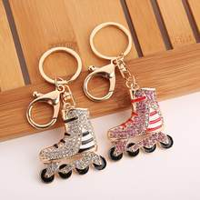 Women Sparkling Rhinestone Roller Skating Shoes Keychain Key Ring Bag Ornament Jewelry Decor Accessory Valentine's Day present(China)