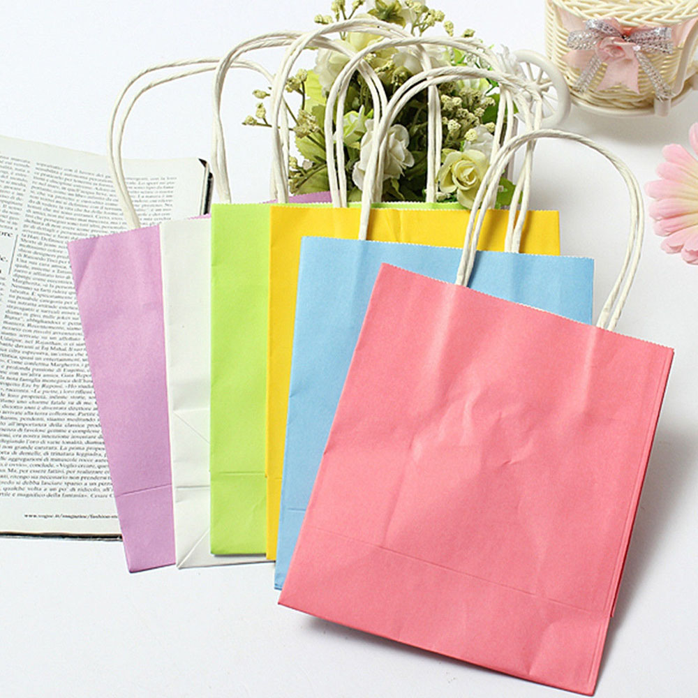 5 PCS Luxury PartyChild Party Birthday Bags Kraft Paper Gift Bag With Handles Recyclable Loot Bag Packing Treat Bag Supplies