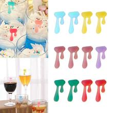 Wine-Glass-Markers Drinking-Cup Water-Drop Silicone 12pcs Label Sign Identifier Random-Color