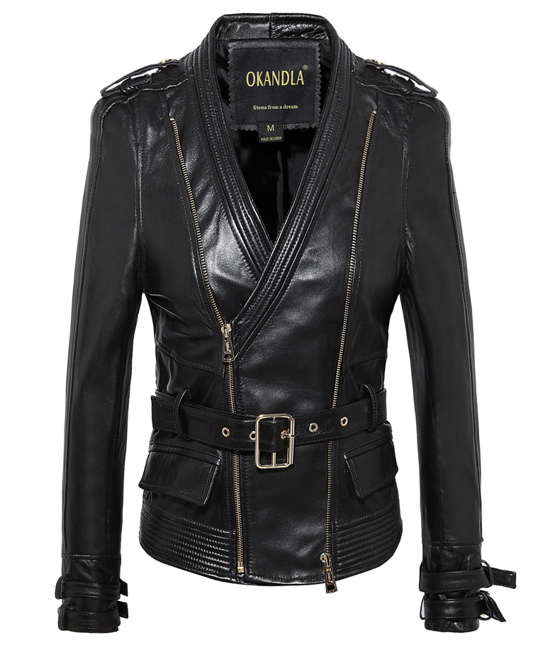 Free Shipping, Fashion Genuine Leather Slim Jackets.Asian Plus Size Female Casual Sheepskin Jacket.womens Jacket