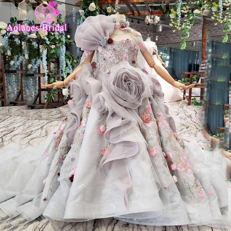 One Shoulder Flower Girl Dress Ruffles Tulle Princess Prom Gowns Child Birthday Evening Gowns Morther Daughter Dresses For Party
