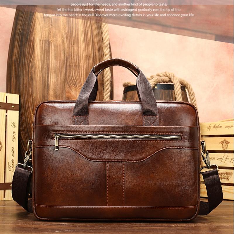 "High Quality Leather Briefcases With Shoulder Strap Luxury Designer Messenger Bag Crossbody Business Handbag For 15 "" PC"