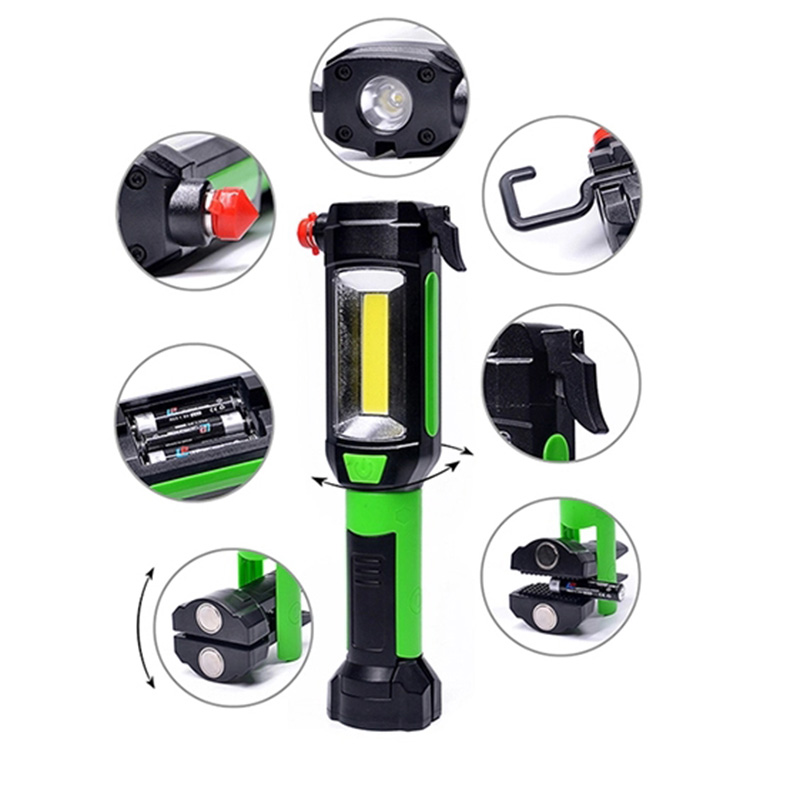 Magnetic COB LED Car Repair Work Light Flashlight with Hook Folding Torch Lamp
