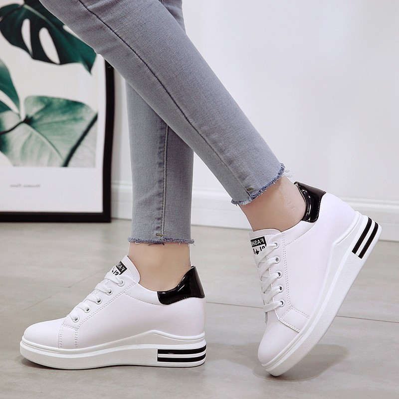 Female White Platform Shoes for Women Sneakers Women Wedges Shoes for Women Flats High Heel Wedge Ladies Shoes Zapatillas Mujer in Women 39 s Vulcanize Shoes from Shoes