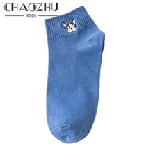 CHAOZHU Spring Summer 2019 Cute Bulldog Embroidery solid colors Girls Women Rib Cotton Ankle Socks High Quality Soft Lady sox