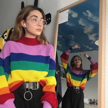 Rainbow Sweater Round Neck Color Long Sleeve Shirt Autumn Sweater Shirt Women's Clothing 02-ST-ylzsms