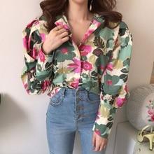 Korea Style New Vintage Spring Women Printed Shirt Summer Autumn Hot Selling Wom