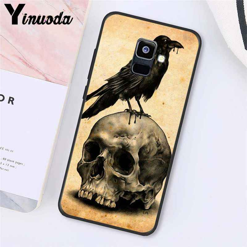 Yinuoda Cranio Corvo copertura Del Fiore di Pirate Amore Coperta Raven PhoneCase Per Samsung Galaxy A7 A50 A70 A20 A30 A40 A8 A6Plus a8Plus A9 2018