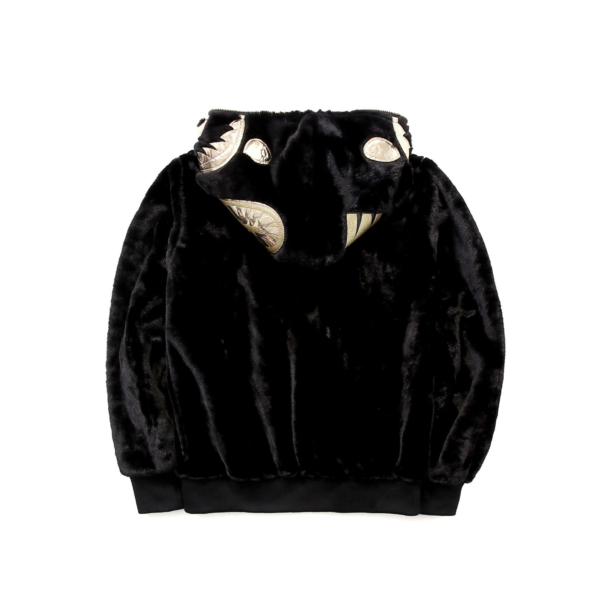 2019 черная Золотая толстовка с вышитой акулой, шерстяная толстовка с капюшоном Harajuku, топ, длинное пальто, Толстовка для косплея в стиле хип хоп - 2