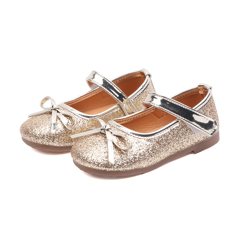 Silver Color Cute T-Strap Buckle Princess Kids Flats Girls Dressy Youth Size 10