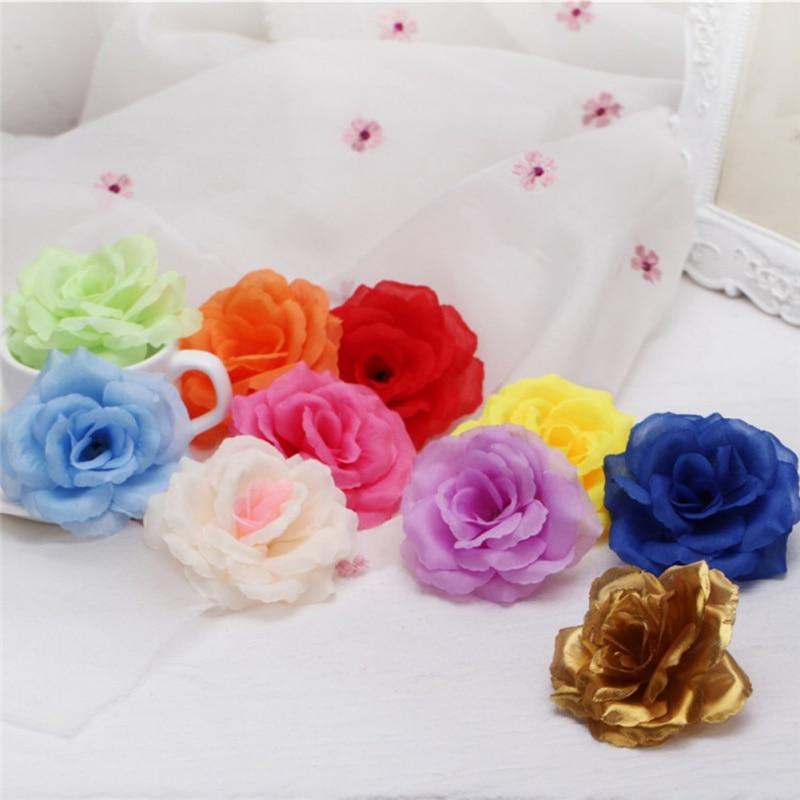 "Bulk 2//5Pcs 4/"" Artificial Large Rose Fabric Flower Heads for Wedding Home Decor"