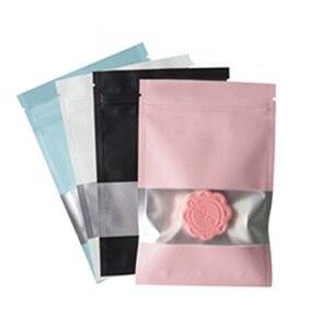 1000 pçs colorido folha de alumínio transparente janela zip lock saco do pacote do produto comestível reciclável seco cereais de carne saco de armazenamento varejo