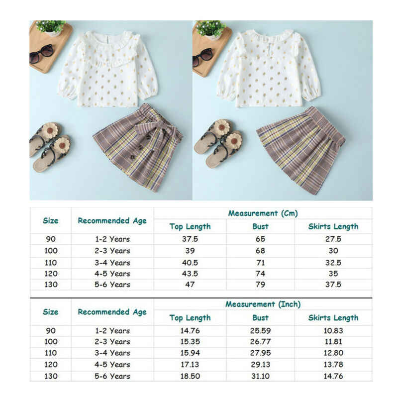 ブティック子供服 2020 春のベビー少女の幼児キッズ衣装服フリル人形の襟のシャツ + チェック柄ミニスカートセット 2 個