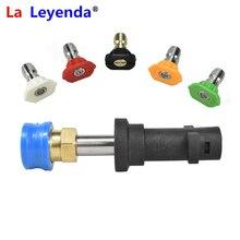 LaLeyenda 1/4 inç hızlı Releasure mavi konnektör Karcher K2 K7 basınçlı yıkama püskürtme nozulları ve 5 adet renk ipuçları adaptörü