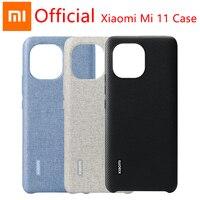 Xiaomi-funda protectora Original para Xiaomi MI 11, carcasa rígida de imitación de cuero, textura Kevlar, tacto delicado